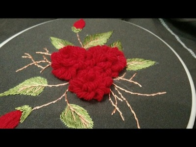 Hand embroidery innovative loop stich flower with leaves