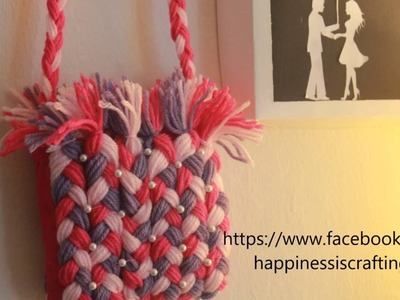 Happiness is. Crafting! DIY Craft Tutorial - 8 : Mini yarn purse