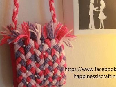Happiness is. Crafting! DIY Craft Tutorial - 8 : Mini yarn purse