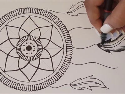 HOW TO DRAW mandala DreamCatcher. Speed Draw