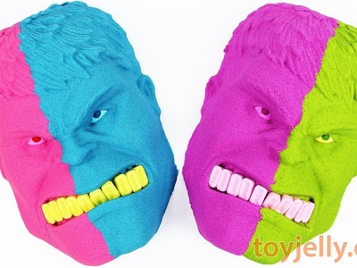 How to make Kinetic Sand The Incredible Hulk Two Face Mask DIY Learn Colors Play Doh Toys for Kids