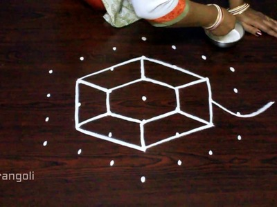 Kolam designs with 7x4 dots || simple muggulu designs || easy rangoli art designs