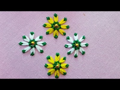 Lazy Daisy Double Colour Thread Flower Stitch|Hand Embroidery part 2