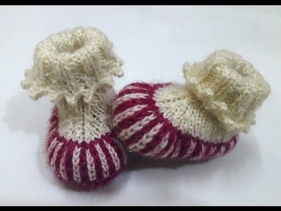 Make two colour baby booties with picot ending- easy method with written pattern