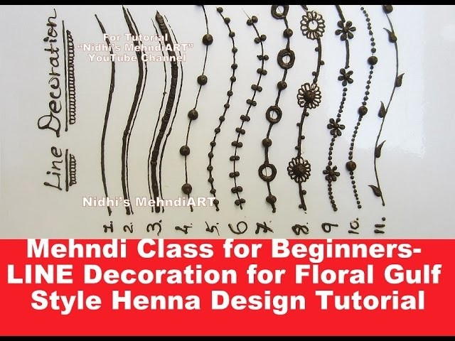 mehndi class for beginners  line decoration for floral