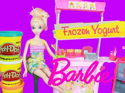 NEW Barbie Frozen Yogurt Restaurant with Disney Princess Elsa Eating Play Doh Ice Cream Toy Video