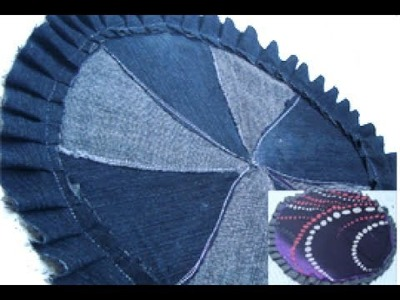 Recycle old DEMIN.JEANS & SARREE to make this reversible rug. table mat.coaster