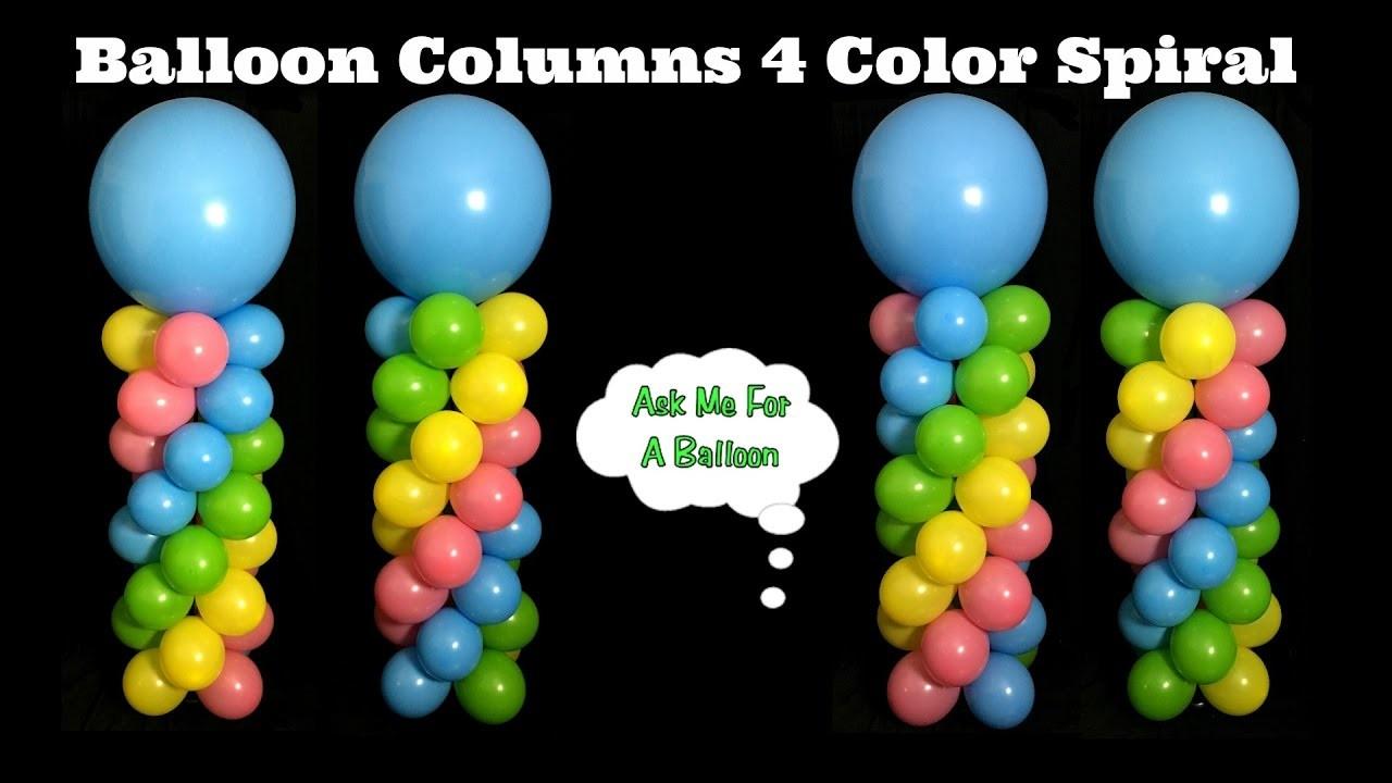 Balloon Columns 4 Color Spiral Balloon Decoration