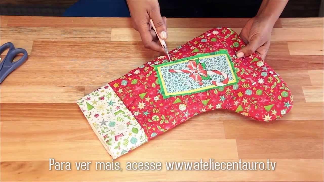 Bota do Papai Noel em patchwork - Artesanato - Ateliê Centauro - Artesã Shirley Valton