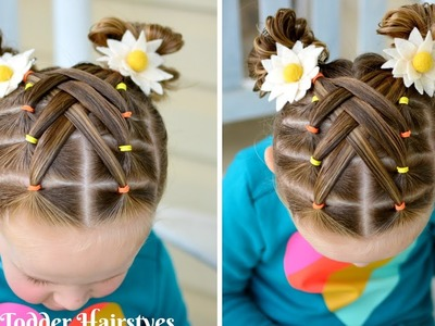 Cascading Weaved Elastics, Little Girl Hairstyle