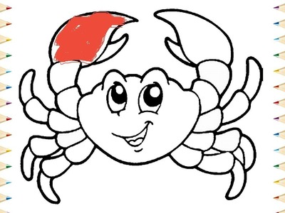 CRAB Coloring pages for KIDS and Learning How to Draw Crab - Videos for children