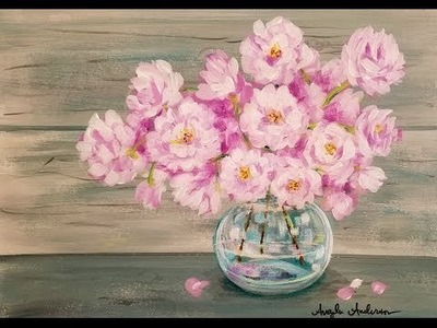 Easy Beginner Acrylic Painting Tutorial Pink Spring Flowers in Glass Vase LIVE