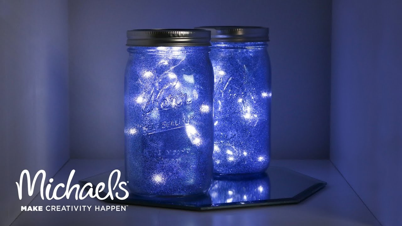 Galaxy light mason jar michaels for Small led lights for crafts michaels