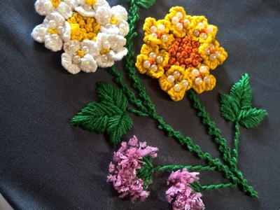 Hand embroidery designs. Hand embroidery for beginners. Cast on stitch flower.