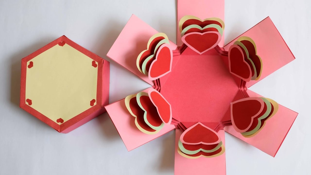 Heart Explosion Box. Hexagon Explosion Box. Valentine