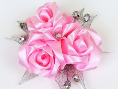 How to make ribbon roses hair clip I DIY Flower Hairclip I Kanzashi flowers