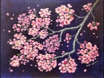 Impressionist Cherry Blossoms Tutorial Step by Step Acrylic Painting LIVE for Beginners