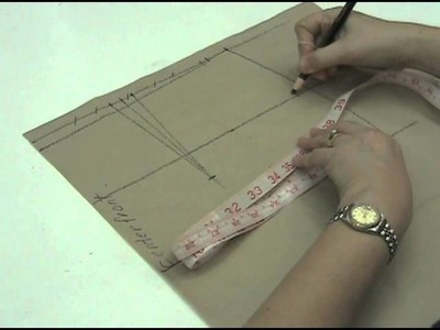 Lesson 2-27 LARGE Front Skirt Part 3 - PATTERN MAKING OF A BASIC DRESS WITH WAISTLINE