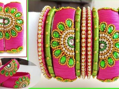 Making of Designer Bridal Silk Thread Bangles sets || Making Silk Thread flower model bangles