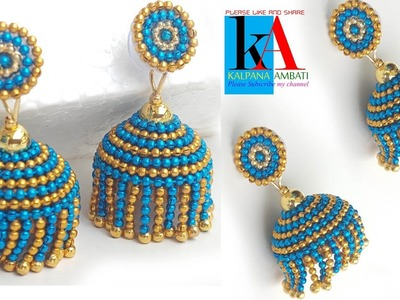 Making of designer silk thread jhumkas | 2 colours hanging silk thread jhumkas