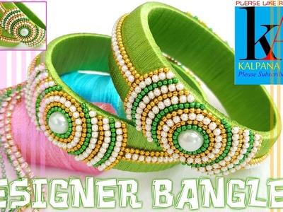 Making of designer silk thread bangles. green exclusive designer silk thread bangles. DIY