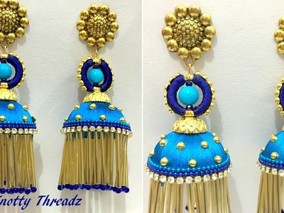 Silk Thread Jewelry | New Design Jhumkas  with Glass Beads and Crystals || Knotty Threadz
