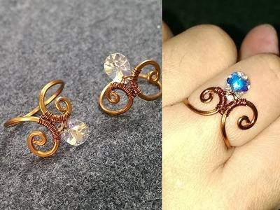 Simple ring with sparkling crystal - How to make wire jewelery 234