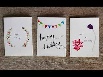 Watercolour Birthday Cards- 3 Designs- ✿ PastelDaisy