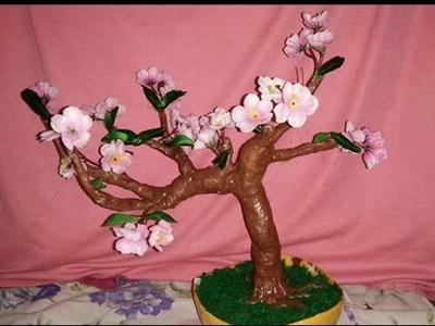 Aluminium foil and shilpkar, cherry blossoms bonsai