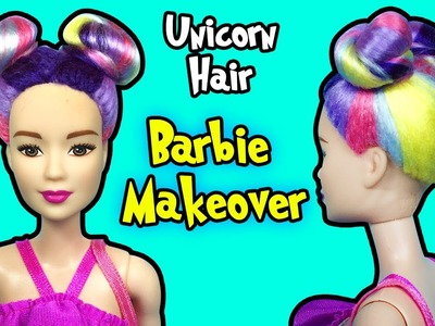 Barbie Doll Makeover - DIY How To Make Unicorn Hairstyle for Barbie Dolls - Making Kids Toys