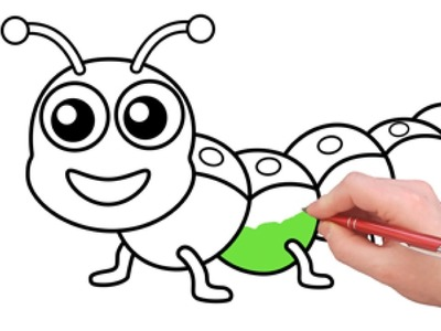 Caterpillar Coloring - Learn How to Draw and Color - Coloring Pages for Kids