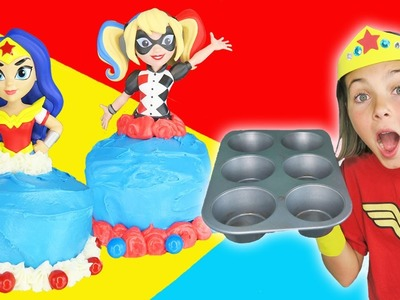 Chef Ava How To Make Superhero Girls Giant Cupcake Dress Cooking Cake Dress Toys Superheroes IRL