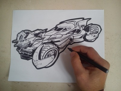 Como dibujar el batimovil de batman vs superman. how to draw the Batmobile batman vs superman
