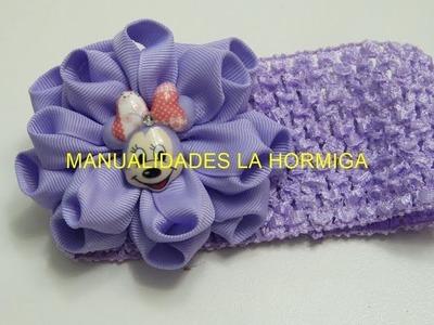 Como hacer Flor de listón,  Flores doble de listón, vídeo 565
