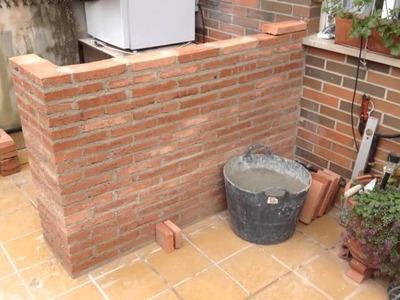 Como se hace una barra de ladrillo rustico - Rustic brick bar - Construction - Parte 1