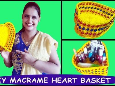DIY How to Make Macrame Heart Basket