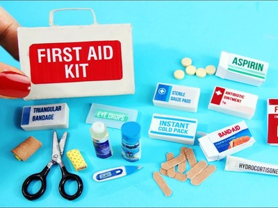 DIY MINIATURE FIRST AID KIT -  Accessories, Band Aids, Thermometer, Medicine - Easy Doll Crafts