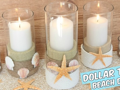 DOLLAR TREE BEACH CANDLE HOLDERS CENTERPIECE TUTORIAL