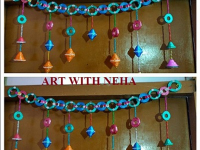 Door   hanging with newspaper|Best out of waste.|DIY newspaper| DIY || art with neha 52 ||