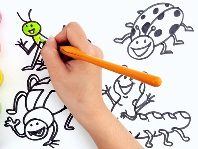 How to Draw Insect Coloring Pages | Kids Songs Learn Drawing | Art Colours for Children