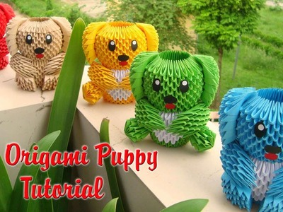 HOW TO MAKE 3D ORIGAMI PUPPY V1 TUTORIAL   DIY PAPER PUPPY TUTORIAL