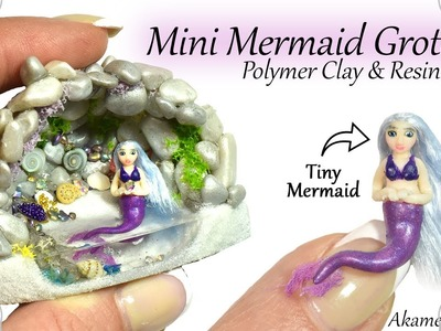 How to: Mini Mermaid Grotto - Aquarium. Fairy Garden, Resin & Polymer Clay Tutorial