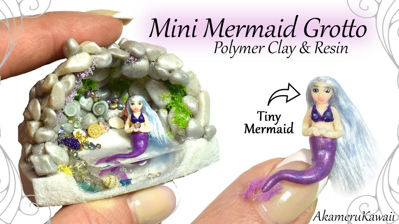 How to: Mini Mermaid Grotto - Aquarium. Fairy Garden, Resin & Polymer Clay Tutorial