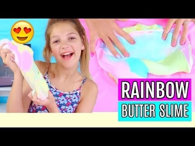 Mixing Rainbow Butter Slime| Annie's Summer Slime Series 2