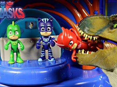New PJ Masks Headquarters Playset. Catboy,Owlette,Gekko Vs Bull T-Rex Jurassic Park Unboxing
