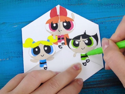Powerpuff Girls Funny Paper Game DIY with Steve, Gru from Despicable me| Geometry Funny Learning