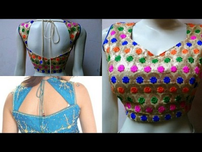 Princess cut paded blouse cutting and stitching with back neck design and side zipper
