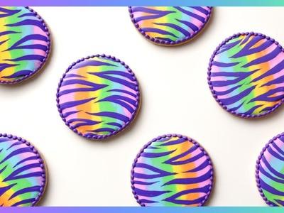 RAINBOW ZEBRA PRINT! Cookie Decorating Tutorial