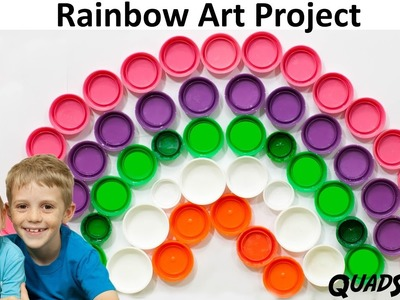 Recycled Bottle Caps make a Rainbow Art Project! - with Brandon