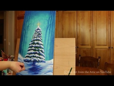 Snowy Pine Tree Acrylic Painting - SPEED PAINTING